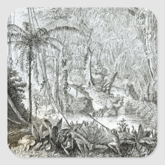 Interior of a Primeval Forest in the Amazons Square Stickers
