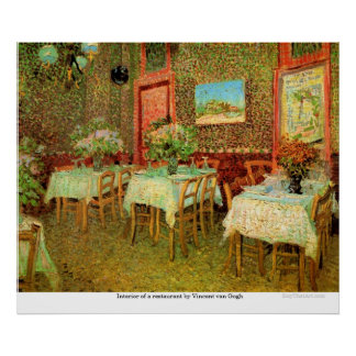 Interior of a restaurant by Vincent van Gogh Poster