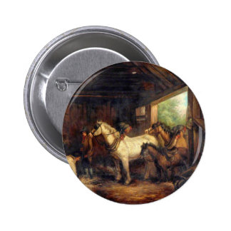 Interior of a Stable by George Morland 6 Cm Round Badge