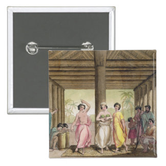 Interior of a Tahitian house with dancing girls, i 15 Cm Square Badge