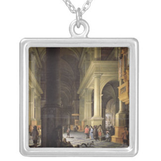 Interior of a Temple, 1652 Silver Plated Necklace