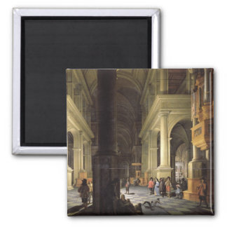 Interior of a Temple, 1652 Square Magnet