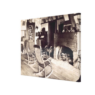 Interior of an American wooden shack, c.1880s (pho Stretched Canvas Prints