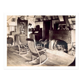 Interior of an American wooden shack, c.1880s (pho Postcard