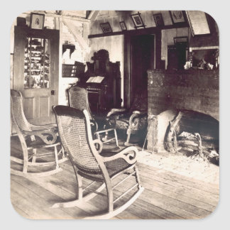 Interior of an American wooden shack, c.1880s (pho Square Stickers