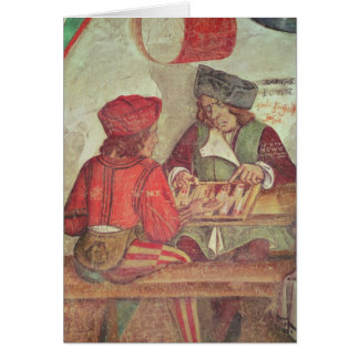 Interior of an Inn, detail of backgammon players Card