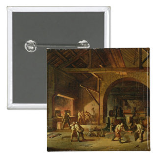 Interior of an Ironworks, 1850 (oil on canvas) 15 Cm Square Badge