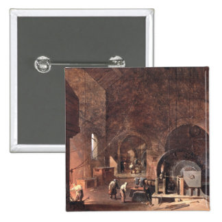 Interior of an Ironworks, c.1850-60 (oil on canvas 15 Cm Square Badge