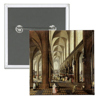 Interior of Antwerp Cathedral, c.1650 15 Cm Square Badge