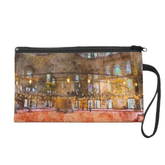 Interior of Blue Mosque in Istanbul Turkey Wristlet Clutch