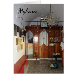 Interior of small church, Mykonos Card