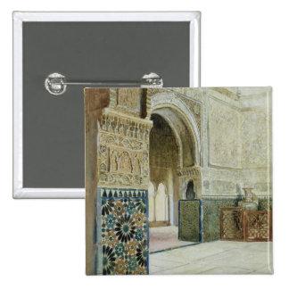 Interior of the Alhambra, Granada (w/c) 15 Cm Square Badge