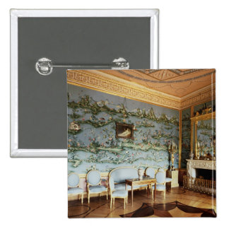 Interior of the Chinese Blue Drawing Room 15 Cm Square Badge