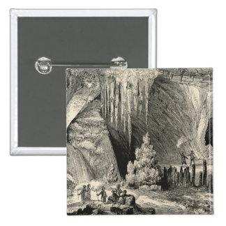 Interior of the Grotto of Antiparos 15 Cm Square Badge