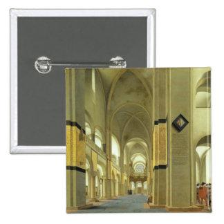 Interior of the Marienkirche in Utrecht, 1638 15 Cm Square Badge