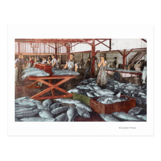 Interior View of a Salmon Cannery Postcard