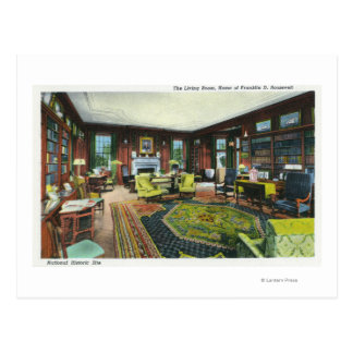 Interior View of FDR's Living Room Post Card