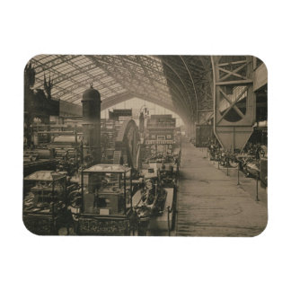 Interior view of the machinery hall from L Album Rectangle Magnet