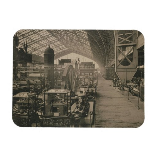 Interior view of the machinery hall, from 'L'Album Rectangle Magnet