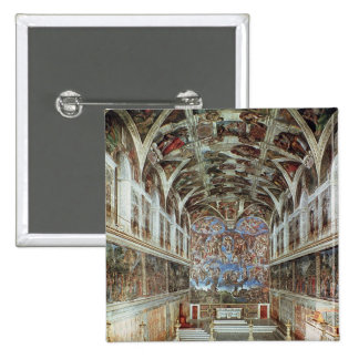 Interior view of the Sistine Chapel Button