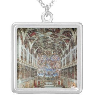 Interior view of the Sistine Chapel Square Pendant Necklace