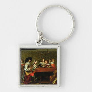 Interior with Musicians and Singers Silver-Colored Square Key Ring