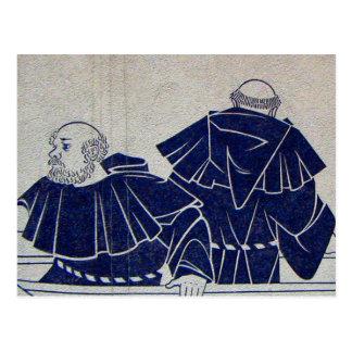 Interlaken, mural of monks fishing postcard