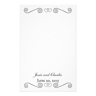 Interlocked Hearts - Black and White Personalized Stationery