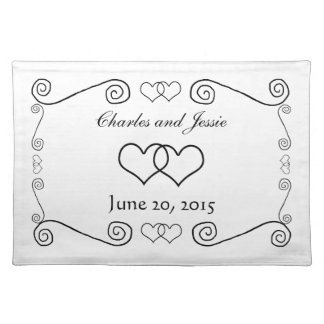 Interlocked Hearts - Black and White Place Mats