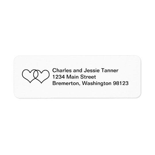Interlocked Hearts - Black and White Return Address Label