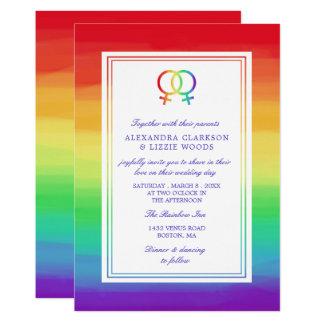Interlocked Venus Symbols | Lesbian Wedding Card