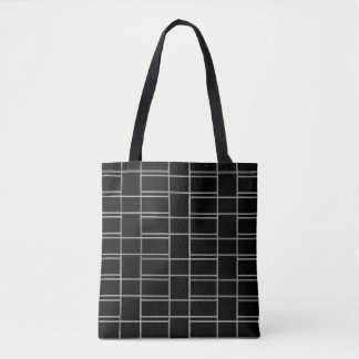 Interlocking Black and White Rectangle Pattern Tote Bag