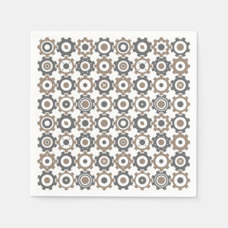 Interlocking Gears Pattern Paper Serviettes
