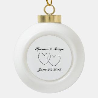 """Interlocking Hearts"" Ball Ornament"