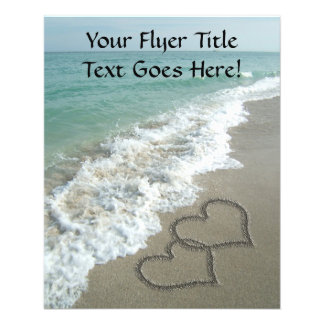 Interlocking Hearts on Sand Beach, Ocean/Wedding 11.5 Cm X 14 Cm Flyer