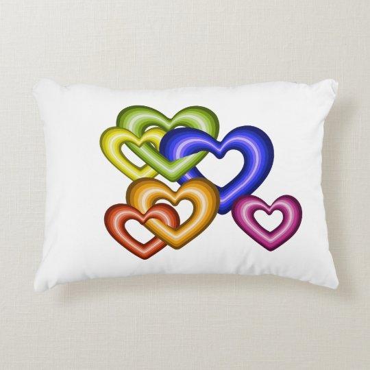 Interlocking hearts rainbow home decor decorative cushion
