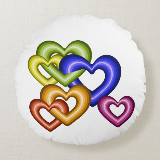 Interlocking hearts rainbow home decor round cushion