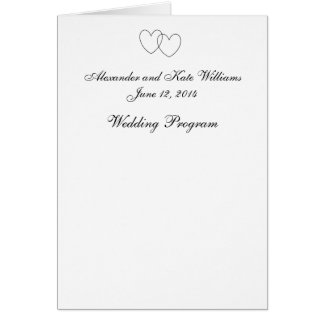 """Interlocking Hearts"" Wedding Program Card"