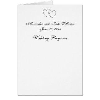 """Interlocking Hearts"" Wedding Program Greeting Card"