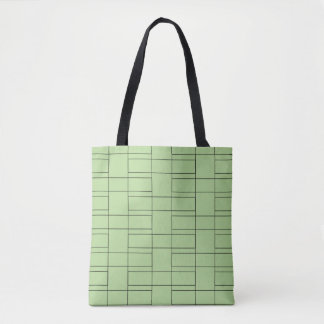 Interlocking Thin Black Rectangle Geometry Pattern Tote Bag
