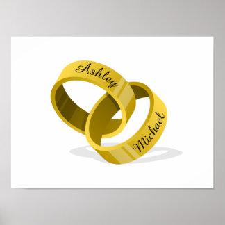 Interlocking Wedding Rings - Engrave YOUR names Poster
