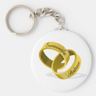 Interlocking Wedding Rings - Engraved custom Names Basic Round Button Key Ring