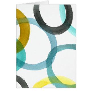 Interlocking Yellow & Blue Circles Greeting Card