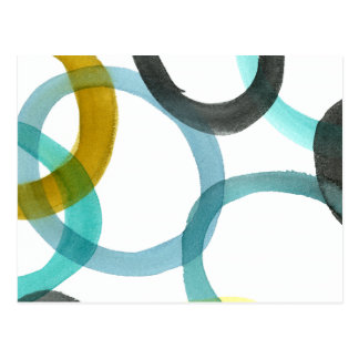 Interlocking Yellow & Blue Circles Postcard