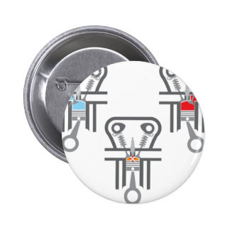 Internal combustion engine vector 6 cm round badge