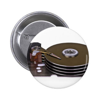 Internals of a hard disk drive 6 cm round badge
