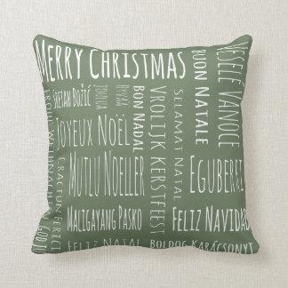 International Christmas Green Cushion