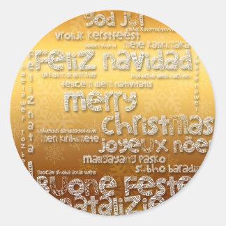 International Christmas Navidad Greeting R Sticker
