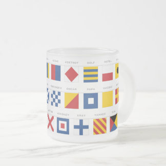 International Code of Signals Alphabet Frosted Glass Coffee Mug
