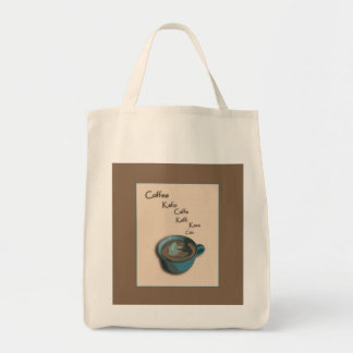 International Coffee Cup Grocery Tote Grocery Tote Bag